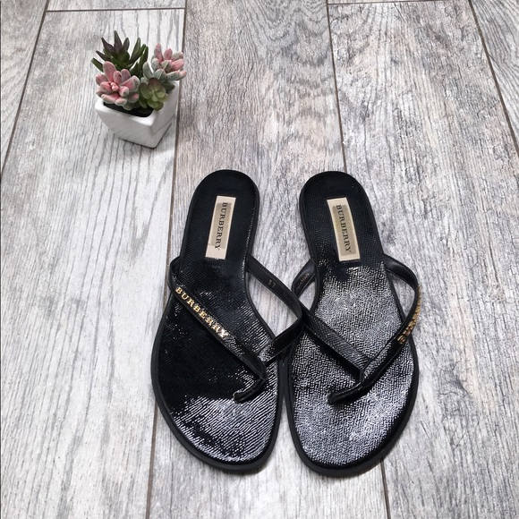 c54b94ef74b1 Burberry Shoes - Burberry black leather flip flop thong sandals
